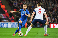 Italy Forward Ciro Immobile (17) and England Midfielder Eric Dier (8) in action during the Friendly match between England and Italy at Wembley Stadium, London, England on 27 March 2018. Picture by Stephen Wright.