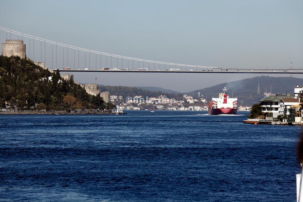 The Fatih Sultan Mehmet Bridge, the Second Bosphorus Bridge, looking towards the Blacksea direction Istanbul, Turkey