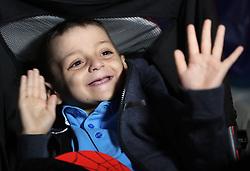 Terminally ill football mascot Bradley Lowery celebrates his sixth birthday at Blackhall Cricket Club near Durham.