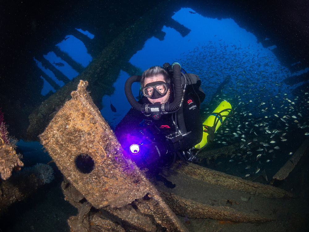 KISS rebreather scuba diver on USCGC Spar Shipwreck in North Carolina, USA