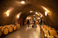Archery Summit Winery in the heart of Dundee, Oregon's Wine Country. The wine caves were drilled into the hillside and offer visitors a glimps at the barrels of aging wine. A group of Chinese tourists in the VIP tasting room.