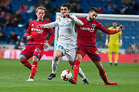 Real Madrid Mateo Kovacic and CD Numancia Aitor Fernandez during King's Cup match between Real Madrid and CD Numancia at Santiago Bernabeu Stadium in Madrid, Spain. January 10, 2018. (ALTERPHOTOS/Borja B.Hojas)