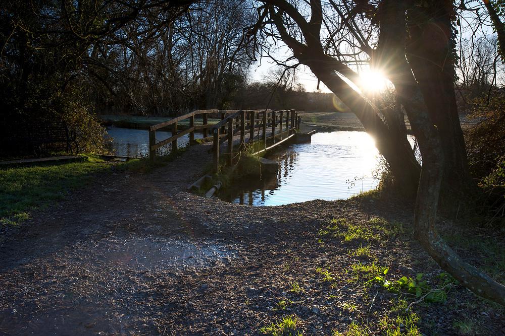 Winter dawn over the River Test at Cow Common, Chilbolton, Hampshire.