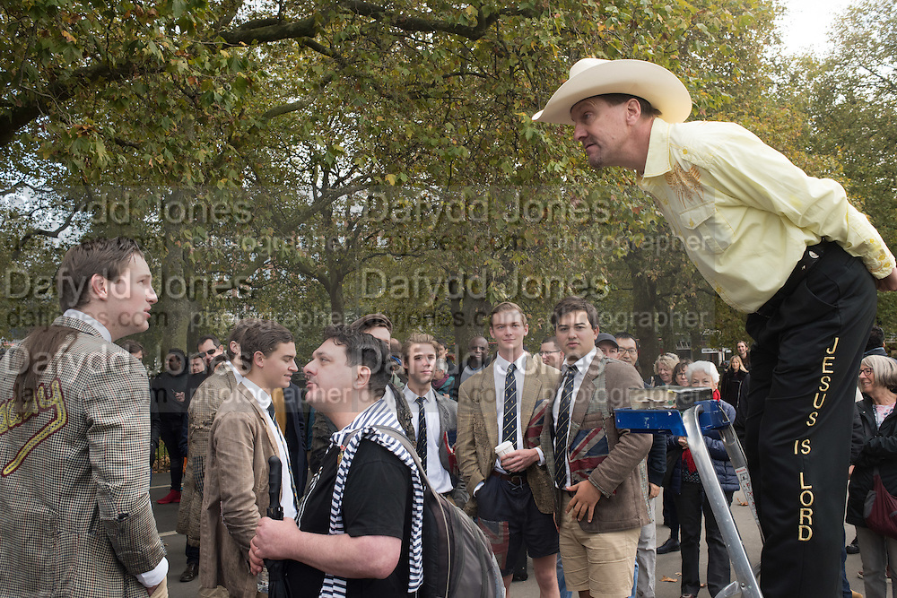 Speaker is a Christian. The boys are members of a Dutch college, debating society called the House of Lords. Speakers corner, London. 23 October 2016