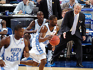 02 APR 2005:  North Carolina head coach Roy Williams screams to get his players to push the ball up court during the Division I Men's Final Four semi final game held the the Edward Jones Dome in St. Louis, MO. The University of North Carolina Tar Heels went on to defeat the Michigan State Spartans 87-71 to advance to the championship game. Photo: Brett Wilhelm/NCAA Photos