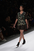 A black outfit with sequined top by Richard Chai at the Spring 2013 Mercedes Benz Fashion Week show in New York.