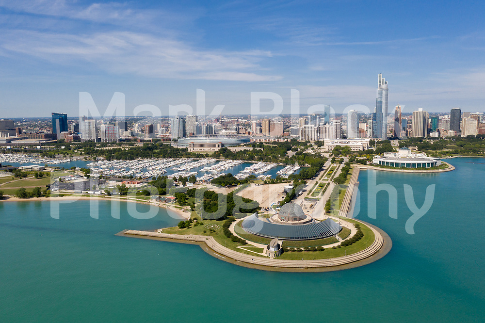 Aerial drone image of the Adler Planetarium, Burnham Harbor and the Chicago Skyline.<br /> Photo by Mark Black