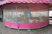 a closed merry go round in Paris France