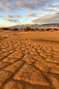 Playa Patterns and Grapevine Mountains at Sunset, Death Valley National Park, California