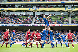 October 7, 2017 - Dublin, Ireland - Devin Toner of Leinster catches the ball during the warm-up during the Guinness PRO14 match between Leinster Rugby and Munster Rugby at Aviva Stadium in Dublin, Ieland on October 7, 2017  (Credit Image: © Andrew Surma/NurPhoto via ZUMA Press)