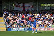 AFC Wimbledon attacker Marcus Forss (15) walking off after red card  during the EFL Sky Bet League 1 match between AFC Wimbledon and Bristol Rovers at the Cherry Red Records Stadium, Kingston, England on 21 September 2019.