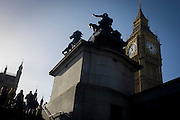 The Palace of Westminster, the statue of Queen Boudicca (also Boadicea) in her chariot with the Queen Elizabeth tower (containing the Big Ben bell) ..