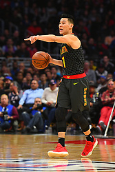 January 29, 2019 - Los Angeles, CA, U.S. - LOS ANGELES, CA - JANUARY 28: Atlanta Hawks Guard Jeremy Lin (7) sets up the offense during a NBA game between the Atlanta Hawks and the Los Angeles Clippers on January 28, 2019 at STAPLES Center in Los Angeles, CA. (Photo by Brian Rothmuller/Icon Sportswire) (Credit Image: © Brian Rothmuller/Icon SMI via ZUMA Press)
