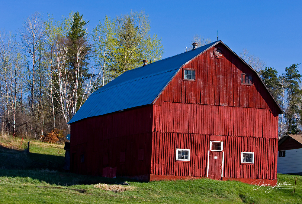 Red barn in spring, Worthington, Ontario, Canada