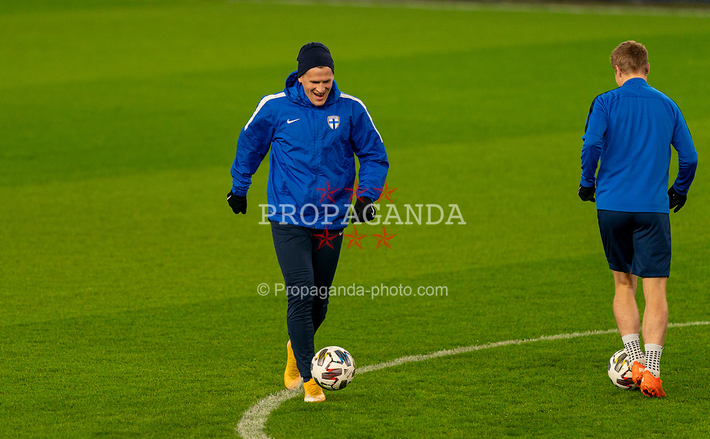 CARDIFF, WALES - Tuesday, November 17, 2020: Finland's Robin Lod during a training session at the Cardiff City Stadium ahead of the UEFA Nations League Group Stage League B Group 4 match between Wales and Finland. (Pic by David Rawcliffe/Propaganda)