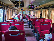 06 APRIL 2012 - HAI PHONG, VIETNAM: The first class car on the Hanoi to Hai Phong Express Train. The train has three classes: 1st, 2nd and 3rd. Tickets cost between $3(US) and $2(US) one way. The Hanoi to Hai Phong Express Train runs several times a day between Long Bien Station in Hanoi and the Hai Phong Station. Hanoi is the capital of Vietnam and Hai Phong is the 4th largest city in Vietnam. Hai Phong is the principal industrial port in the northern part of Vietnam. It was heavily bombed and mined during the American War (what Americans call the Vietnam War).   PHOTO BY JACK KURTZ
