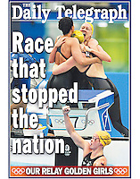 The Australian Women's 4x100m relay celebrate gold at the 2008 Beijing Olympics. (Copyright Michael Dodge/Daily Telegraph)