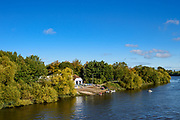 Chiswick, Greater London, UK., 11th October 2020, General View from Barnes Bridge towards, Cygnet and Barnes Bridge Ladies RC's and hidden Emanual School Boathouse,  Pairs Head of the River Race, Restricted entry and Shortened Course, COVID-19,  Barnes Bridge and Dukes Meadows location, [Mandatory Credit: Peter Spurrier/Intersport Images]