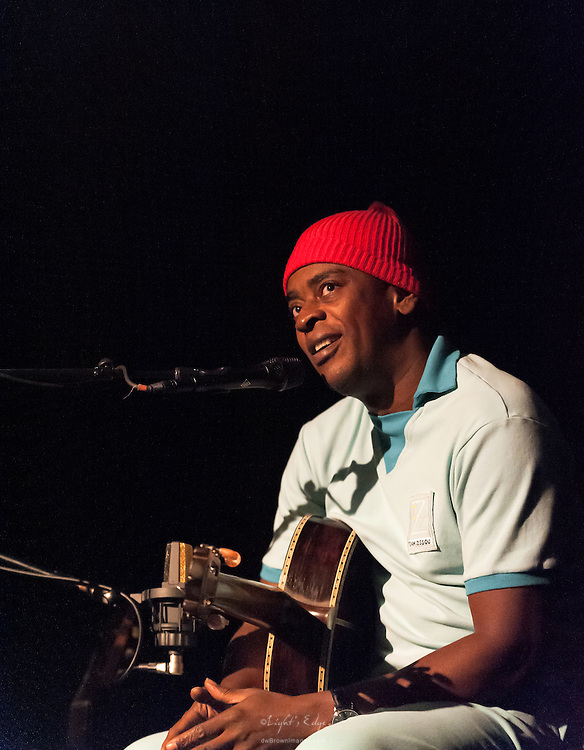 Seu Jorge, during a performance at Union Transfer in Philadelphia, recanting stories and memories of working on and performing the Bowie songs in the movie Life Aquatic.
