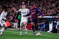 February 6, 2019 - Barcelona, BARCELONA, Spain - 02 Nelson Semedo of FC Barcelona defended by 08 Toni Kroos of Real Madrid during the semi-final first leg of Spanish King Cup / Copa del Rey football match between FC Barcelona and Real Madrid on 04 of February of 2019 at Camp Nou stadium in Barcelona, Spain (Credit Image: © AFP7 via ZUMA Wire)