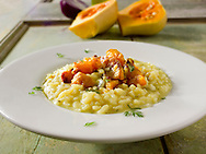 Roast Butternut squash on saffron risotto