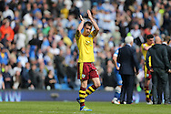 Burnley striker (formerly Brighton striker) Ashley Barnes (30) applauds the fans during the Sky Bet Championship match between Brighton and Hove Albion and Burnley at the American Express Community Stadium, Brighton and Hove, England on 2 April 2016.