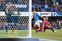 Football - 2018 / 2019 Emirates FA Cup - Fourth Round: Portsmouth vs. Queens Park Rangers<br /> <br /> Portsmouth's Brett Pitman puts the ball in the net only to ruled offside at Fratton Park <br /> <br /> COLORSPORT/SHAUN BOGGUST