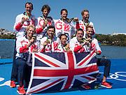 "Rio de Janeiro. BRAZIL     GBR M8+. Gold Medalist Bow. Bow. <br /> Scott DURANT, Tom RANSLEY, T Andrew T<br /> HODGE,  Matt GOTREL,  Pete REED,  Paul<br /> BENNETT,  Matt LANGRIDGE,   William SATCH and Cox. Phelan HILL, at the, 2016 Olympic Rowing Regatta. Lagoa Stadium, Copacabana,  ""Olympic Summer Games""<br /> Rodrigo de Freitas Lagoon, Lagoa. Local Time 12:16:35  Saturday  13/08/2016<br /> [Mandatory Credit; Peter SPURRIER/Intersport Images]"