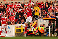 Michael Smith & Sheffield Uniteds Craig Alcock during the Sky Bet League 1 Play Off Second Leg match between Swindon Town and Sheffield Utd at the County Ground, Swindon, England on 11 May 2015. Photo by Shane Healey.