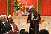 "14 April 2012-Santa Barbara, CA: ""He'll Understand and Say Well Done"", Bernice Garrett.  Babatunde Folayemi Memorial Service at First United Methodist Church, 305 East Anapamu Street, Santa Barbara, CA. Family and friends gathered immediately following the service for refreshments and sharing in the Fellowship Hall of the church.Artist, Youth advocate, community leader, and former Santa Barbara City Council Member Babatunde Folayemi passed away on Wednesday, March 28, peacefully at home. He was 71, and is survived by his wife Akivah Northern, Cinque Folayemi Northern his son, several nieces and nephews, as well as grand-nieces and grand-nephews. He is also survived by his wifes Aunt Bea (Vivian Scarbrough), who is 105 years old. Photo by Rod Rolle"