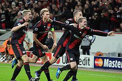 19.10.2011, BayArena, Leverkusen, GER, UEFA CL, Gruppe E, Bayer Leverkusen (GER) vs Valencia CF (ESP), im Bild.Torjubel / Jubel  nach dem 1:1 durch Andre Schürrle (Leverkusen #9) (R) mit Michal Kadlec (Leverkusen #24) und Simon Rolfes (Leverkusen #6) (L) , Lars Bender (Leverkusen #8) (L) ..// during the UEFA CL, group E, Bayer 04 Leverkusen (GER) vs Valencia CF (ESP) on 2011/10/19, at BayArena, Leverkusen, Germany. EXPA Pictures © 2011, PhotoCredit: EXPA/ nph/  Mueller       ****** out of GER / CRO  / BEL ******