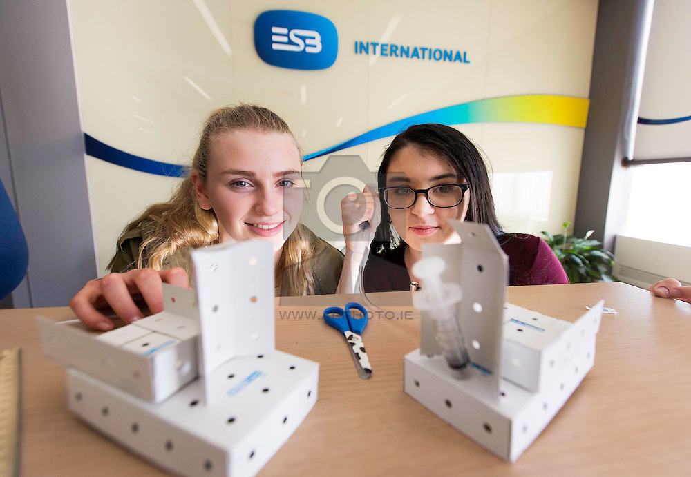 Repro Free: Aisling Walsh from Loreto Foxrock and Catriona Houston of Mount Sackville Secondary School are pictured at the three day 'Women in Engineering' Transition Year Programme, organised by ESB International, which is celebrating 40 years in business this year. The annual programme gives female Transition Year students a fascinating insight into the career of an engineer, to encourage them to consider engineering as an option for their future professions. <br /> Recent research has revealed that more women in Ireland are now choosing a career in engineering as they recognise the variety of opportunities available to them in critical areas such as technology and energy. Activities over the three day programme at ESB International offices included an introduction to engineering, a meet and greet with some of ESB's female engineers and site visits to key ESB projects. Picture Andres Poveda