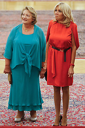 September 7, 2017 - Athens, Greece - French President Emmanuel Macron's wife Brigitte and Vlasia Pavlopoulou wife of the Greek President attend at the dinner in Presidential Palace in Athens. Macron arrived in Greece Thursday for a two-day visit during which he was expected to outline his vision for the future of the European Union and discuss Greece's financial crisis (Credit Image: © Eurokinissi via ZUMA Wire)