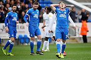 Peterborough Utd forward Callum Cooke can't believe he missed this chance during the EFL Sky Bet League 1 match between Peterborough United and Coventry City at London Road, Peterborough, England on 16 March 2019.