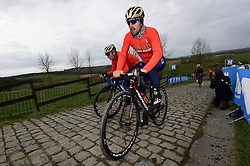 March 30, 2018 - Oudenaarde, Belgique - OUDENAARDE, BELGIUM - MARCH 30 : COLBRELLI Sonny (ITA)  of Bahrain - Merida on the Paterberg climb during a training session prior to the Flanders Classics UCI WorldTour 102nd Ronde van Vlaanderen cycling race with start in Antwerpen and finish in Oudenaarde on March 30, 2018 in Oudenaarde, Belgium, 30/03/2018 (Credit Image: © Panoramic via ZUMA Press)