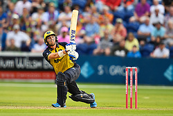 Dan Douthwaite of Glamorgan in action<br /> <br /> <br /> Photographer Craig Thomas/Replay Images<br /> <br /> Vitality Blast T20 - Round 4 - Glamorgan v Middlesex - Friday 26th July 2019 - Sophia Gardens - Cardiff<br /> <br /> World Copyright © Replay Images . All rights reserved. info@replayimages.co.uk - http://replayimages.co.uk