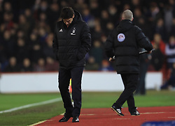 Nottingham Forest manager Aitor Karanka  stands dejected