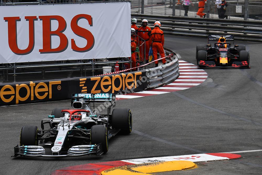 Lewis Hamilton (Mercedes) in front of Max Verstappen (Red Bull-Honda) during the 2019 Monaco Grand Prix. Photo: Grand Prix Photo