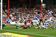 Brentford Forward Sergi Canos (47) scores a goal (score 1-0) during the EFL Sky Bet Championship match between Brentford and Queens Park Rangers at Griffin Park, London, England on 21 April 2018. Picture by Andy Walter.