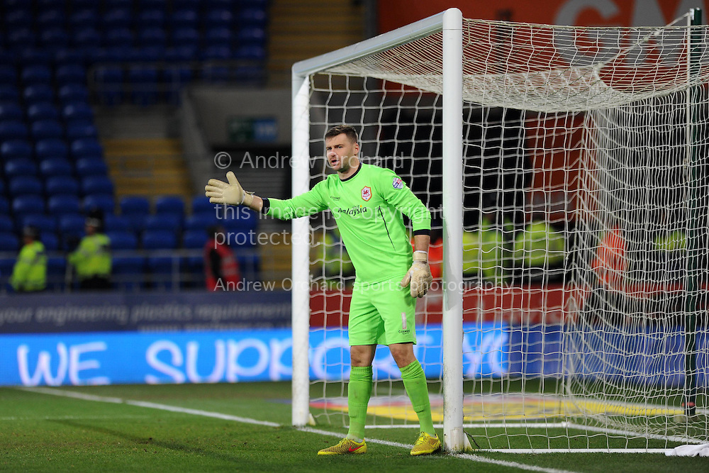 Cardiff city goalkeeper David Marshall in action. Skybet football league championship match, Cardiff city v Brighton & Hove Albion at the Cardiff city Stadium in Cardiff, South Wales on Tuesday 10th Feb 2015.<br /> pic by Andrew Orchard, Andrew Orchard sports photography.