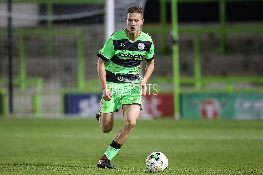 Forest Green Rovers Rendijs Kalnins(6) runs forward during the FA Youth Cup match between U18 Forest Green Rovers and U18 Cheltenham Town at the New Lawn, Forest Green, United Kingdom on 29 October 2018.