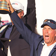 Ryder Cup 2016. Day Three. Vice-Captain Tom Lehman  as the United States and the team celebrate their Ryder Cup win after the United States victory over Europe in the Ryder Cup tournament at Hazeltine National Golf Club on October 02, 2016 in Chaska, Minnesota.  (Photo by Tim Clayton/Corbis via Getty Images)