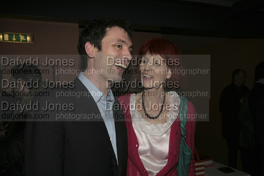 Tom Sykes and his mother Valerie Goad,  Book launch for ' What Did I Do last night' by Tom Sykes. Century Club. Shaftesbury Ave. London. 16 January 2006. -DO NOT ARCHIVE-© Copyright Photograph by Dafydd Jones. 248 Clapham Rd. London SW9 0PZ. Tel 0207 820 0771. www.dafjones.com.