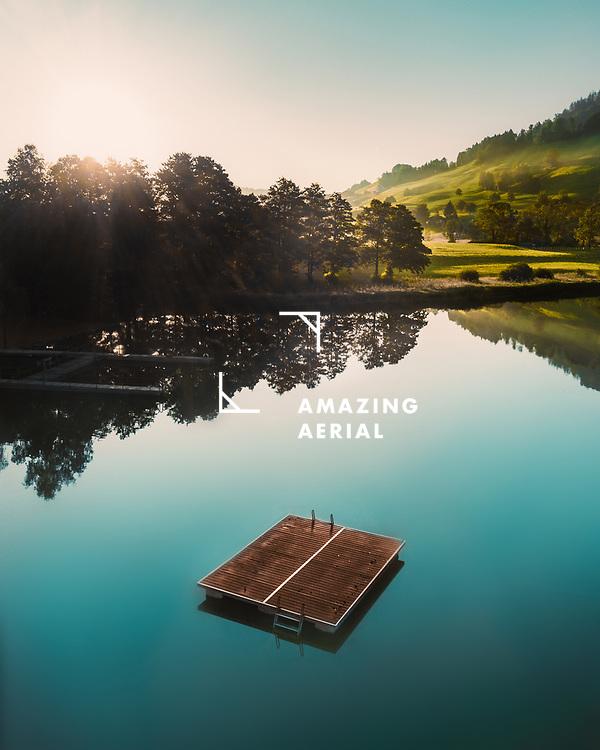 Aerial view of Huttnersee, Swiss Lake, Switzerland