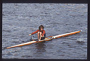 London. United Kingdom. Rupert OBHOLZER. 1990 Scullers Head of the River Race. River Thames, viewpoint Chiswick Bridge Saturday 07.04.1990<br /> <br /> [Mandatory Credit; Peter SPURRIER/Intersport Images] 19900407 Scullers Head, London Engl