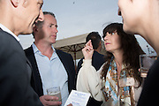 MASSIMILIANO GIONI; PAUL DUFFY CEO ABSOLUT,; FRANCES STARK Absolut celebrate the winners of the 2015 Absolut Art prize. the award for art awarded to Frances Stark and the award for writing awarded to Mark Godfrey. Bauer Hotel Terrce, Venice Biennale, Venice. 8 May 2015