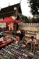 The Luang Prabang Night Market has perhaps the most extensive collection of handicrafts for sale in the country, with a wide variety of textiles, clothing, carvings, basketry, quilts, and much more. The market is open daily from dusk, around 6 pm until about 10 pm. Strolling  through the night market is an enjoyable experience in itself and is something that should not be missed for those visiting Luang Prabang.