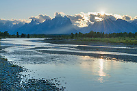 Sun setting over the Teton Range and the Snake River, Grand Teton National Park Wyoming