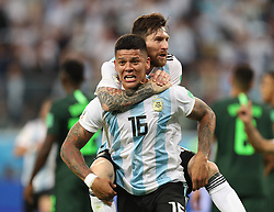 SAINT PETERSBURG, June 26, 2018  Argentina's Marcos Rojo (bottom) celebrates scoring with Lionel Messi during the 2018 FIFA World Cup Group D match between Nigeria and Argentina in Saint Petersburg, Russia, June 26, 2018. (Credit Image: © Yang Lei/Xinhua via ZUMA Wire)