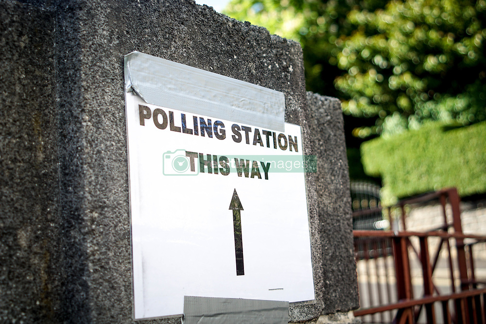 May 2, 2019 - Sheffield, England, United Kingdom - A sign is seen outside a church used during local elections in Sheffield , United Kingdom on 2nd of May 2019.  Elections are being held in 248 councils across England and Northern Ireland today. (Credit Image: © Giannis Alexopoulos/NurPhoto via ZUMA Press)